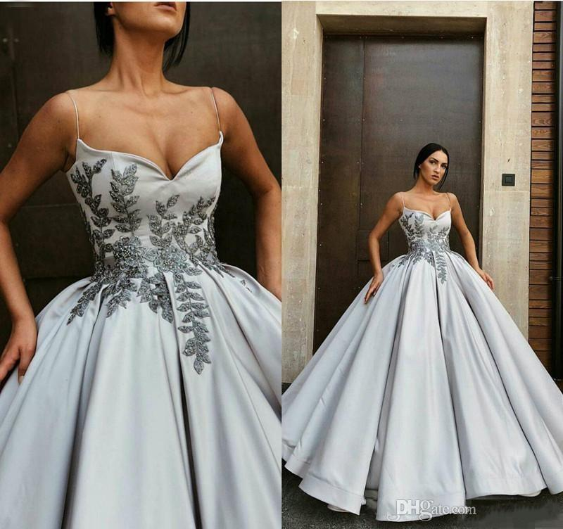 2020 Gorgeous Silver Spaghetti Long Prom Dresses Lace Appliqued Ball Gown  Quinceanera Evening Gowns Floor Length Plus Size Party Wear Prom Dresse S