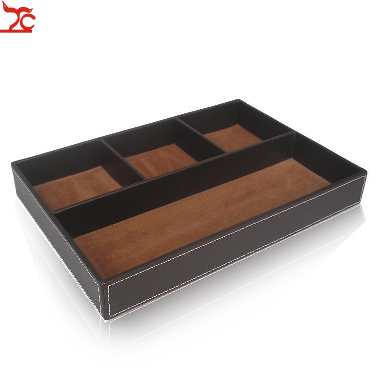 2PCS Sundry receive tray PU Grids Jewelry Display Case Jewelry Ring Necklace Display Tray Key Portable Holder Bracelet