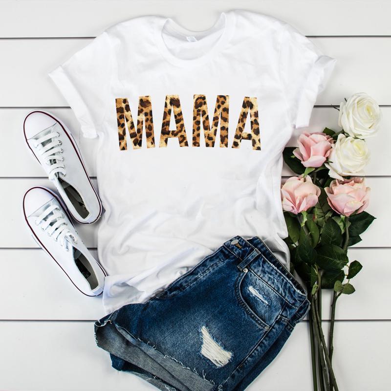 여성 엄마 엄마 레오파드 문자 인쇄 어머니 의류 티셔츠는 그래픽 여자 여자 여자 레이디 T 셔츠 텀블러 T 셔츠 T 셔츠 탑