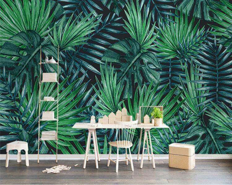 사용자 정의 사진 벽지 노르딕 손으로 그린 열대 우림 식물 녹색 잎 거실 TV 배경 3D 벽 벽화 벽지
