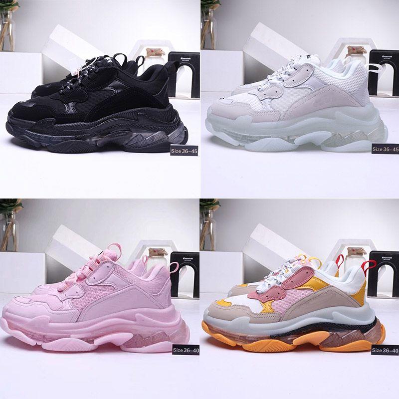 Balenciaga Triple-S shoes Crystal sole Luxury Brand Eski Büyükbaba Eğitici'ye 2019 üst Kristal Alt Triple-S Boş Ayakkabı Lüks baba Ayakkabı Platformu Üçlü S Sneakers