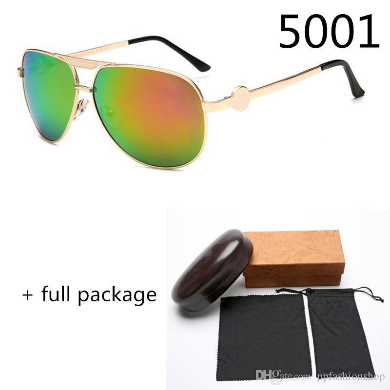 UV400 gafas de sol de marco de metal Piloto 5001 Nueva película de color del Sun de la manera Gafas de 8 colores de marca gafas de diseño