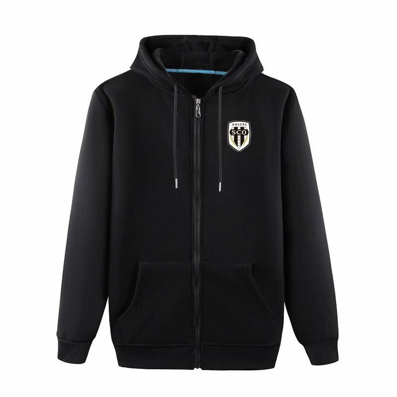 2020 Angers SCO Kapşonlu Ceket futbol Eğitim Ceket erkekler futbol Hoodie Kazak Ceket futbol Kazak ceket Erkek ceketler FuTüm-Zip