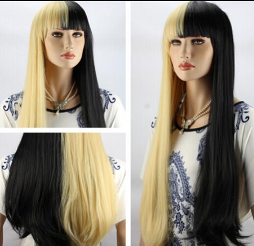 Peluca envío gratis para mujer largo y rizado Cosplay disfraz pelucas de cabello completo amarillo y negro señora peluca natural