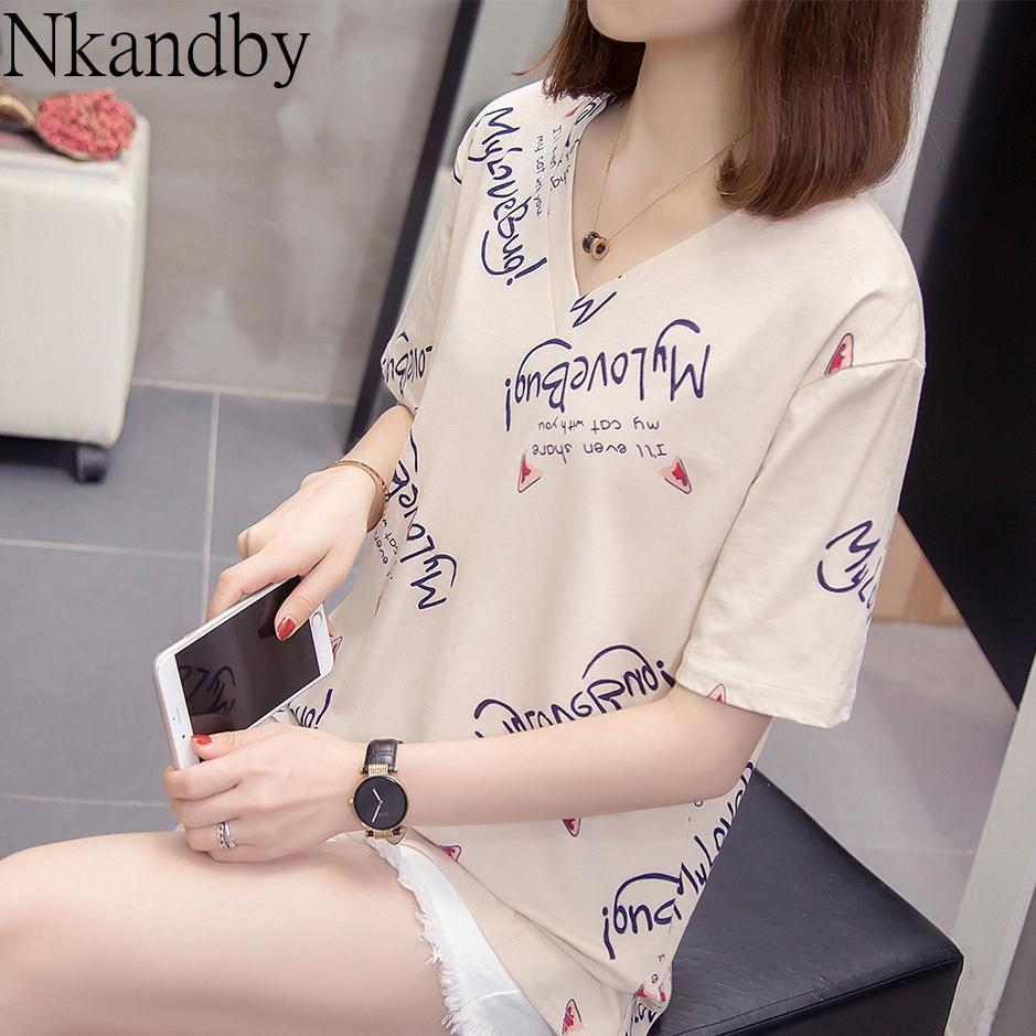 Más el tamaño de cuello en V camiseta de las tapas 2020 de verano mujeres de la ropa de moda de Corea Carta Imprimir camiseta de gran tamaño algodón suelta camiseta divertida T200512