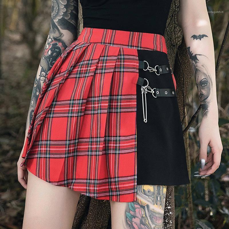 Femmes de vacances Plaid imprimé Jupes à carreaux Flare Jupes femmes Designer Jupes Vêtements décontractés