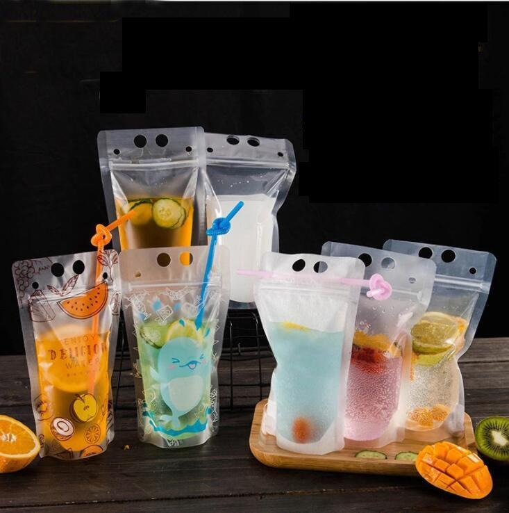Drink Pouches Bags frosted Stand-up Plastic Drinking Bag with straw Drink Fruit Juice Milk Tea Liquid Bag KKA6875