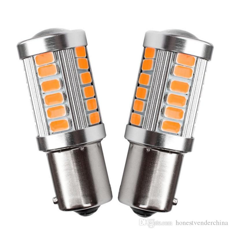 4PCS 1156PY 7507 PY21W BAU15s 33 SMD 5630 5730 di direzione a LED posteriore dell'automobile Indicatore lampada auto di direzione anteriori segnali luminosi giallo ambrato