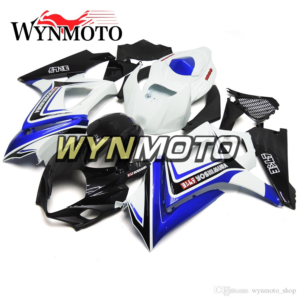 Motorcycle Fairings For Suzuki GSXR1000 K7 2007 2008 ABS Plastic Injection White Black Blue Hulls Kits Covers motorbike Covers cowlings