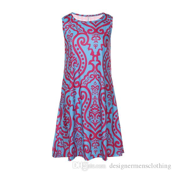Summer Designer Women Dresses Sexy Beach Dress Printed Sleeveless Floral Dress Ladies One Piece Colorful Clothing