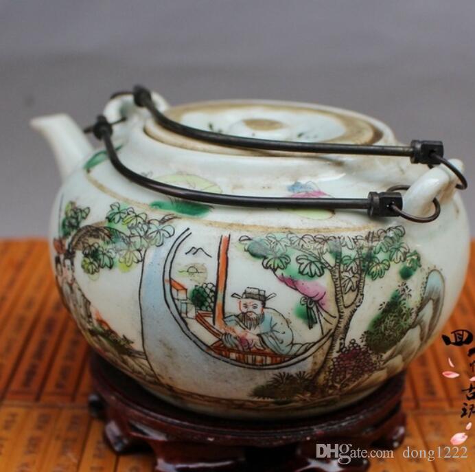 China old folk porcelain Painted Teapot Flagon ghvgh