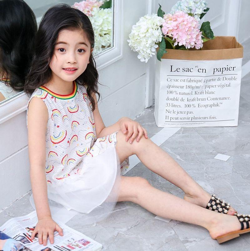 Ropa de diseñador para niños Vestidos de arcoíris para niñas Vestido de princesa de algodón de encaje Sin mangas Vestido de verano para niños Ropa de verano de verano de Corea YW3434