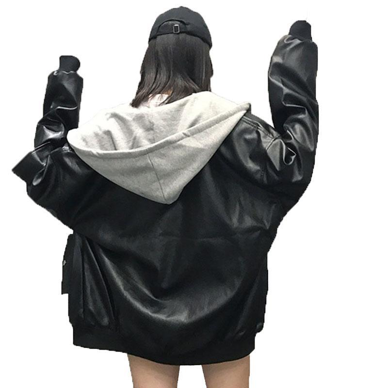 Hooded BF Harajuku Patch Bomber female Jacket Loosen PU Coats Black Leather Jacket Coat Women Oversize Basic Coat