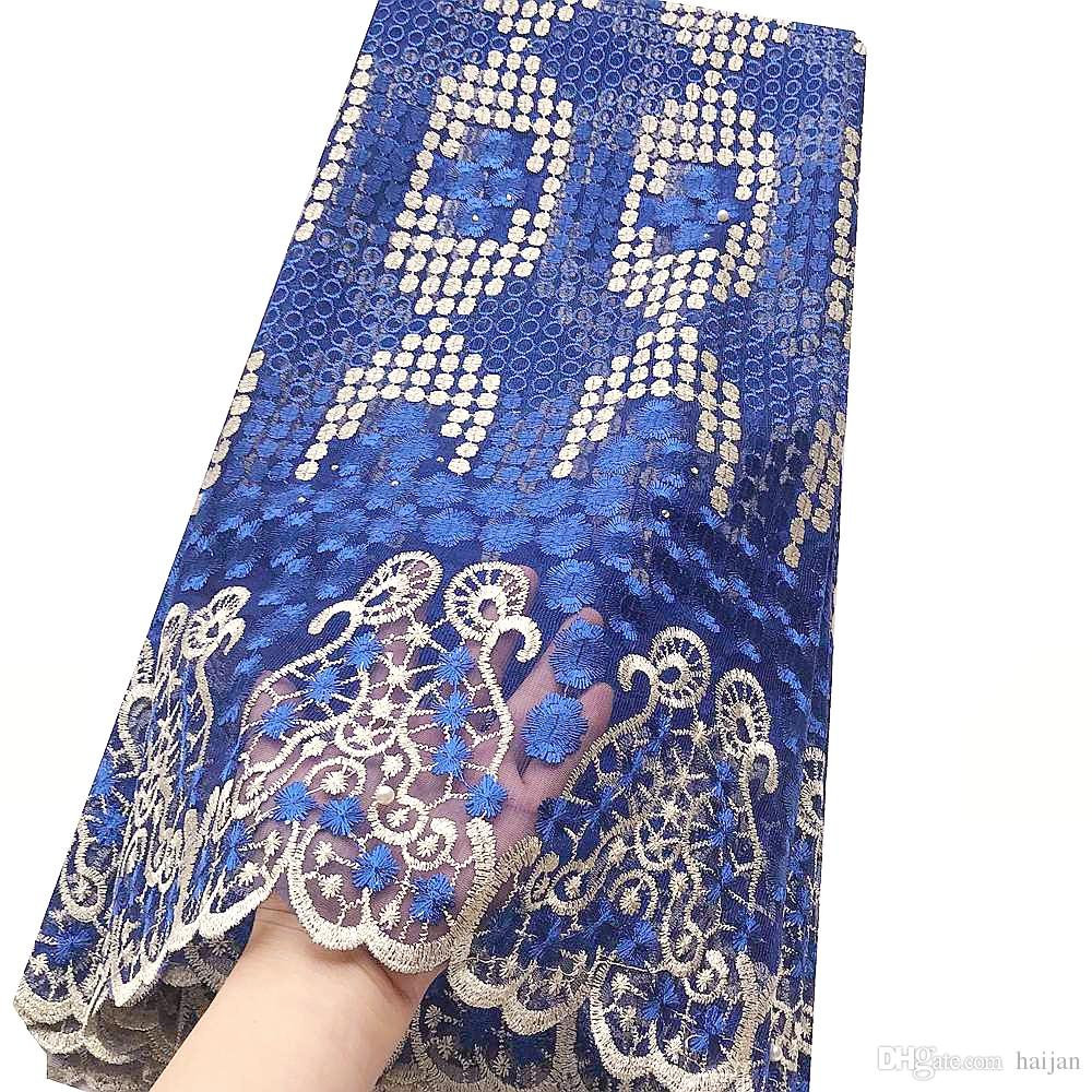 Dubai Últimas 2019 nigeriano Lace Tecidos Verde Africano Francês Laces tecidos de alta qualidade da tela do laço azul Tulle real francesa
