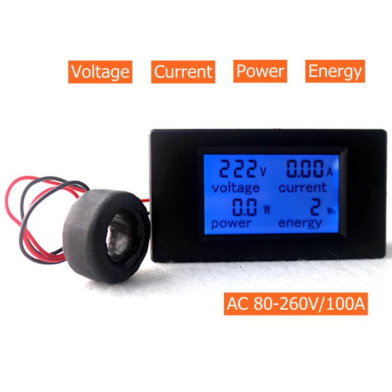 Tools AC 80-260V/100A Volt Amp Meter AC Multi function Voltage Ampere Power Energy Tester with Current Transformer