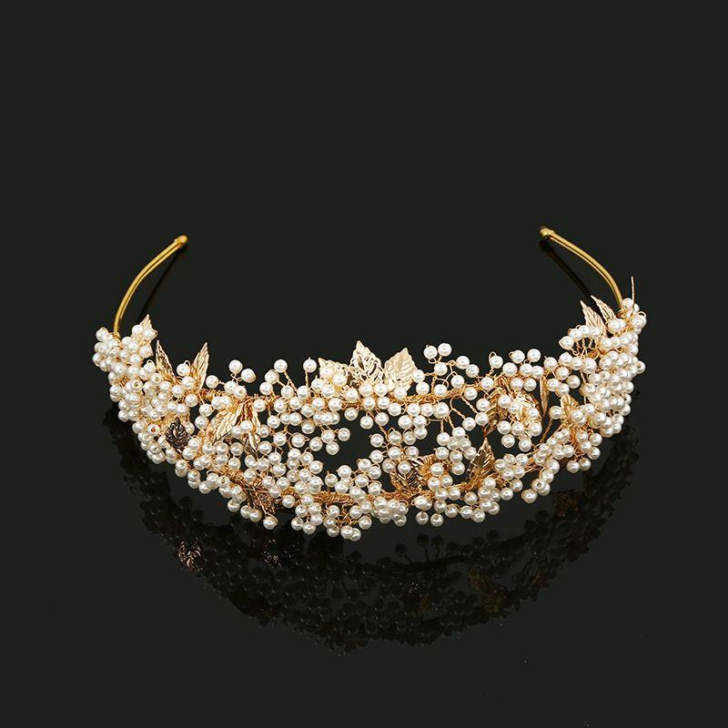 Slbridal Gold Crystal Rhinestones Pearls Flower Leaf Wedding Tiara Headband Bridal Crown Hair Accessories Bridesmaids Women J 190430