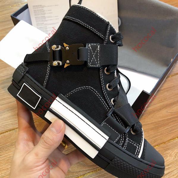 Kostenloser Versand Designer-Schuhe Männer Frauen Technische Knit Canvas High Top Sneaker Buckle-Details Weiß und Schwarz Gummisohle B23 Marke Logo