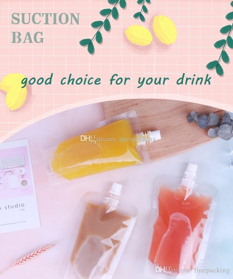 Stand-up Plastic Drink Packaging Bag Spout Suction Pouch for Juice Milk Coffee Beverage Liquid Packing (Filling Tools is included) Shipping