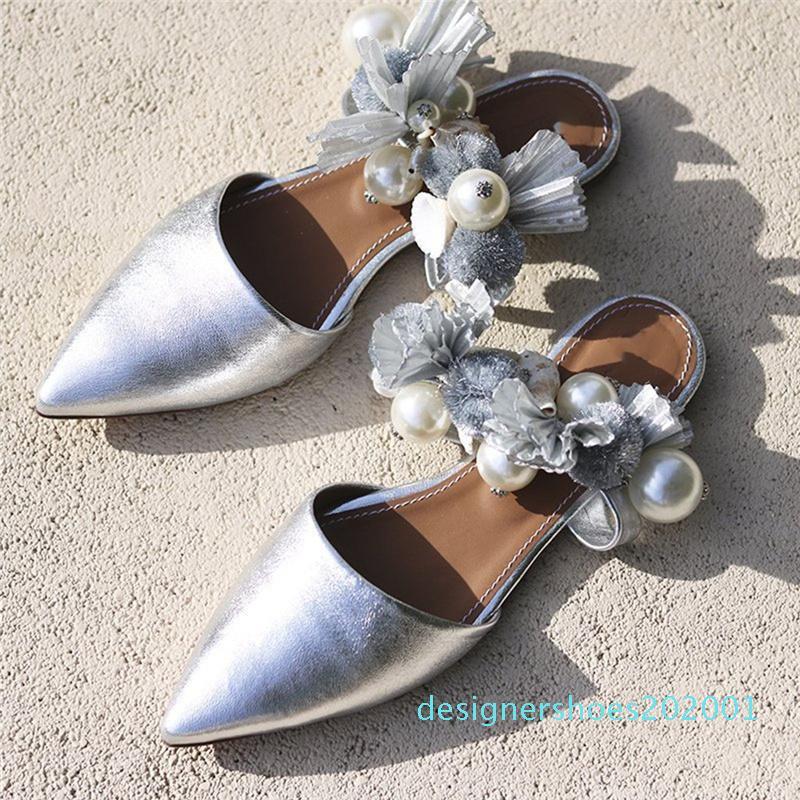 Concisa punta estrecha verano de las mujeres de la hebilla de correa de la playa del color oro transpirable sandalias zapatos planos de las mujeres damskie buty