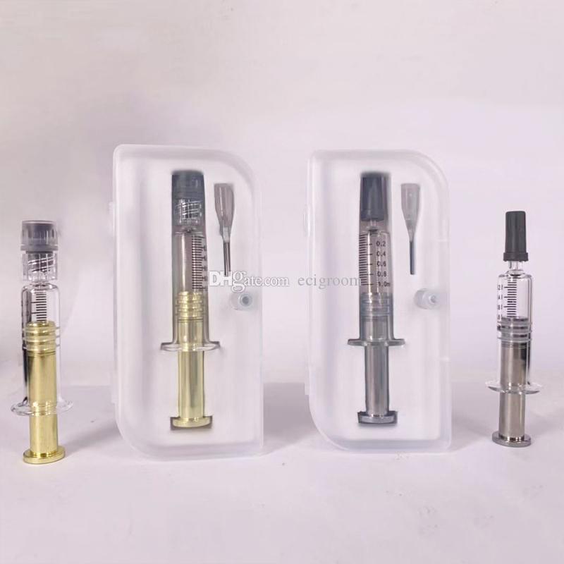 1ML Pyrex Glas Metall Twist Kolbenspritze Vaping Coil Winding Jig-Werkzeug mit Nadel Kunststoff-Box-Verpackung für dicken Öltank