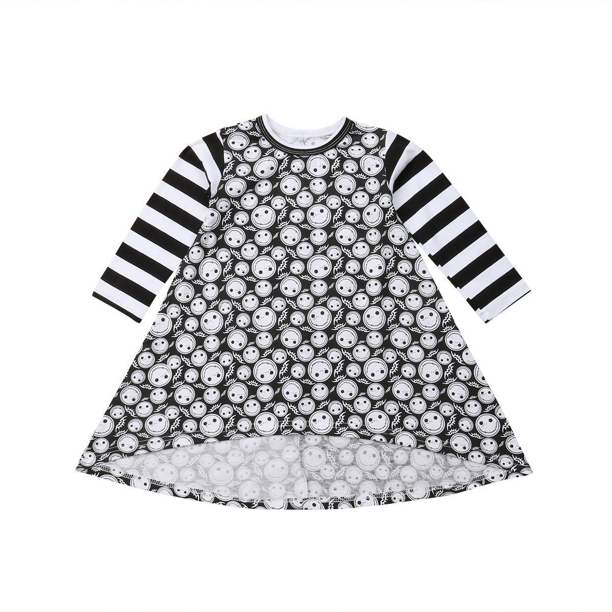 Niño recién nacido del niño del cabrito del bebé de la ropa de algodón casual de impresión popular de Halloween princesa vestido del desfile de la fiesta del equipo del traje