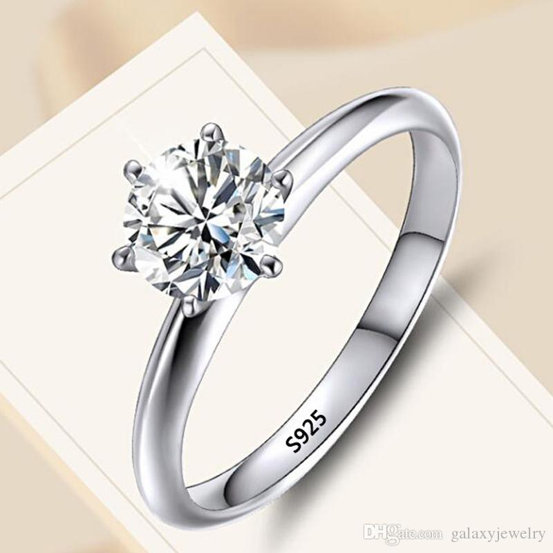 YHAMNI Solitaire Ring Real 925 Sterling Silver 7mm 1.5ct Sona Diamond Wedding Band Rings Women Bridal Fine jewelry R121