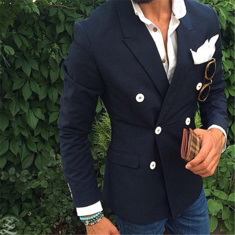 2020 Moda Son Coat Pant Tasarım Siyah Lacivert Çift Breasted Blazer Suit Casual Ceket Custom Suits Masculino A3