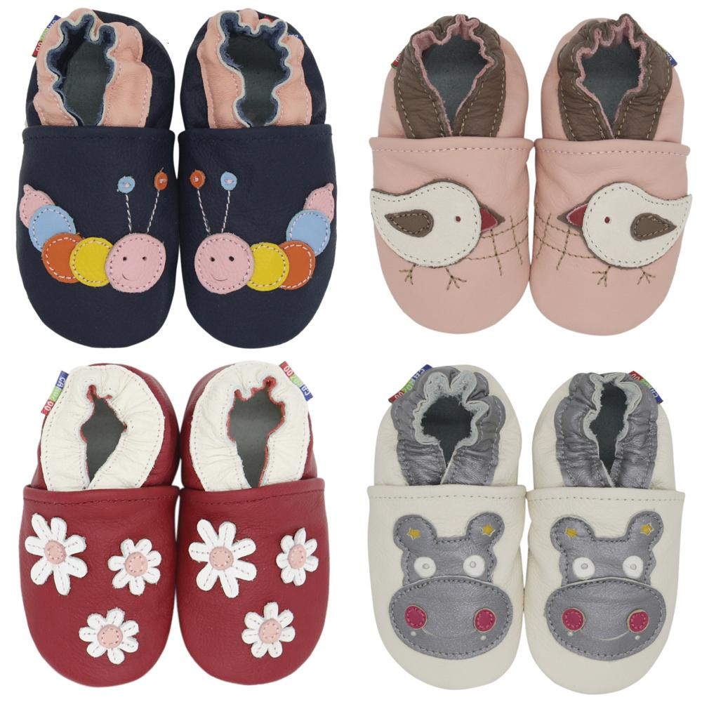 carozoo cow dark red 3-4y soft sole leather baby shoes