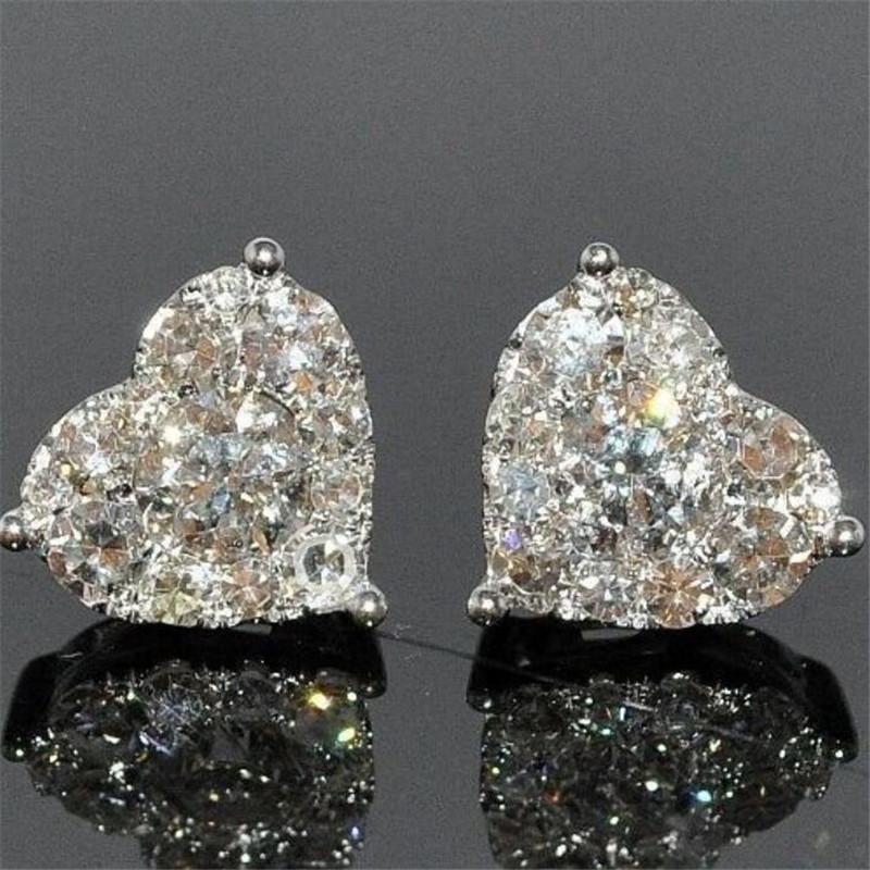Regalo delle donne che Wedding i monili Luxury Real 925 Sterling Silver Ragazze taglio della pera Topazio bianco CZ diamante semplice Belle Partito Cuore Orecchino
