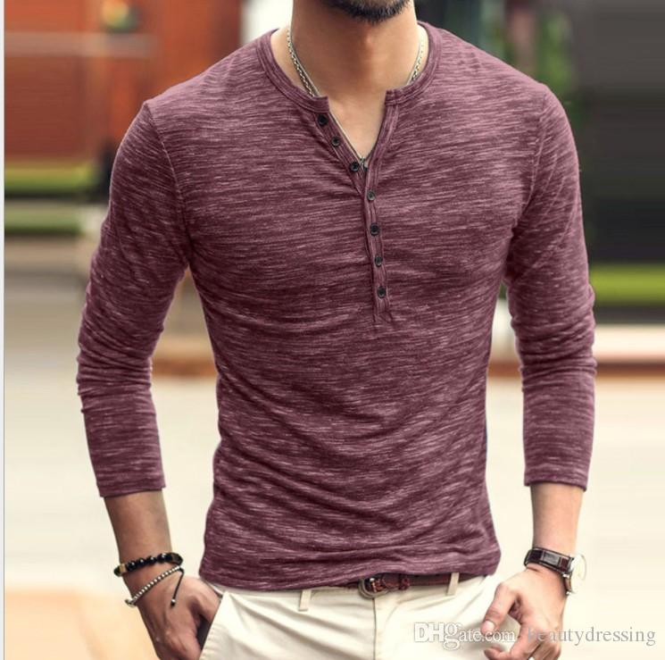 Mens Henley V Neck Button T-Shirts Long Sleeve Slim Fit Blouse T-Shirts Tops F//1