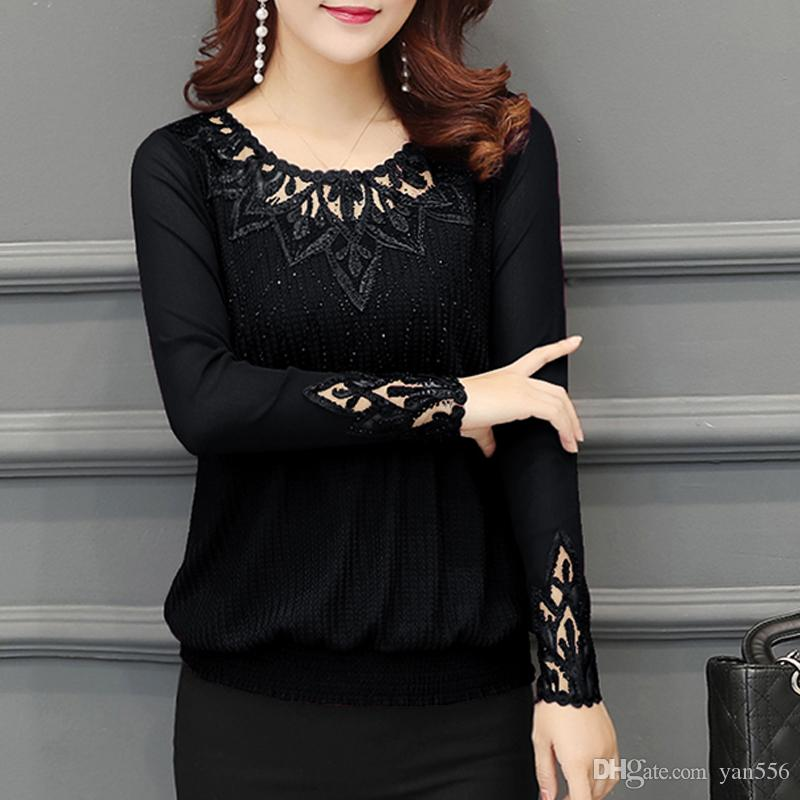 Spring 2020 Women Shirt hollow out Long Sleeve Embroidery Sequin Bead Lace Mesh Blouse Shirt Plus Size Top Blusa Feminina 952J5