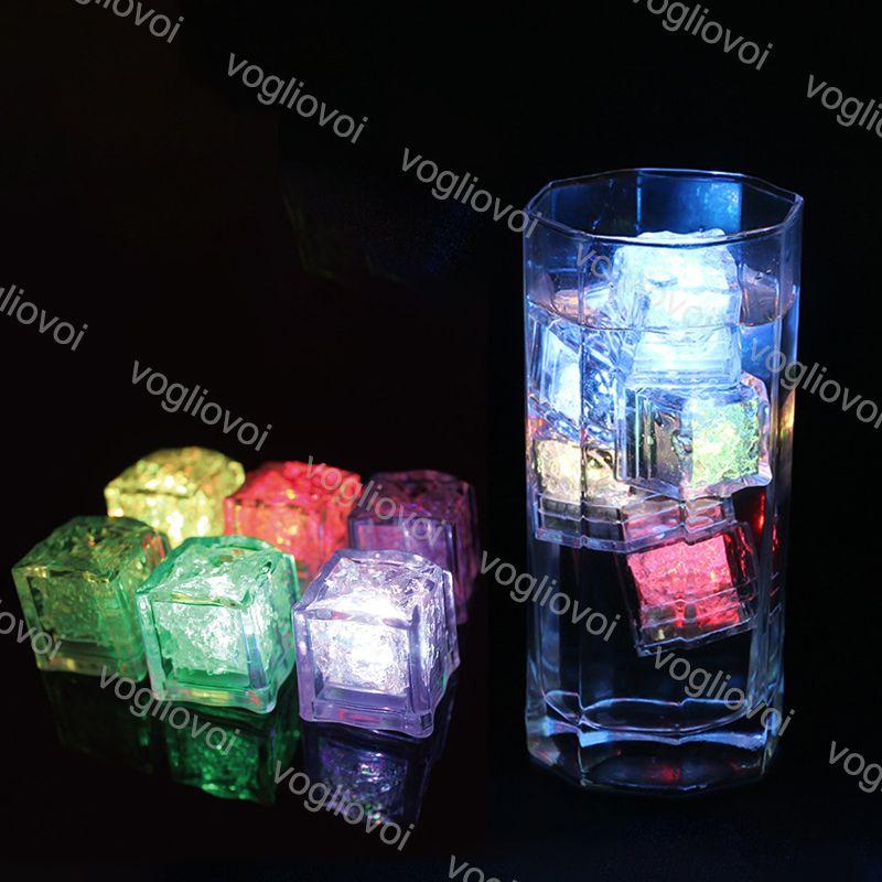 Gece Işıkları LED Buz Küpleri Bar Hızlı Yavaş Flaş Otomatik Değiştirme Kristal Küp Su-Aktif Renkli Romantik Parti Düğün Noel Hediye Için DHL