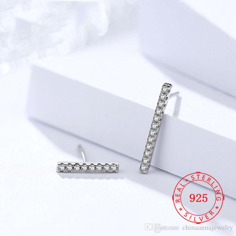 Beyaz altın Lady için 925 Gümüş Bar Hattı Çubuk Küpe Stud Minimalist Küpe Özel Fantezi Mücevher kaplama