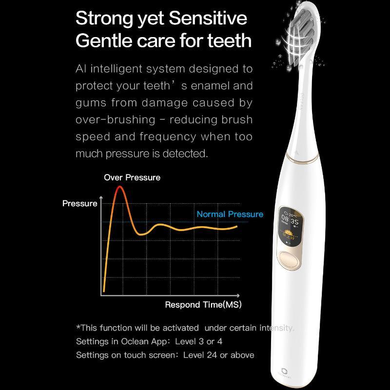DROPSHIP الأصل Oclean X لسونيك فرشاة الأسنان الكهربائية العالمية لكن الإصدار القابلة لإعادة الشحن للماء الأسنان بالموجات فوق الصوتية الكبار فرشاة