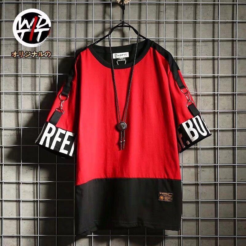 T-shirt de manga curta masculina hip-hop marca maré rua High Street manga solta meio costurando roupas maré manga de cinco pontos