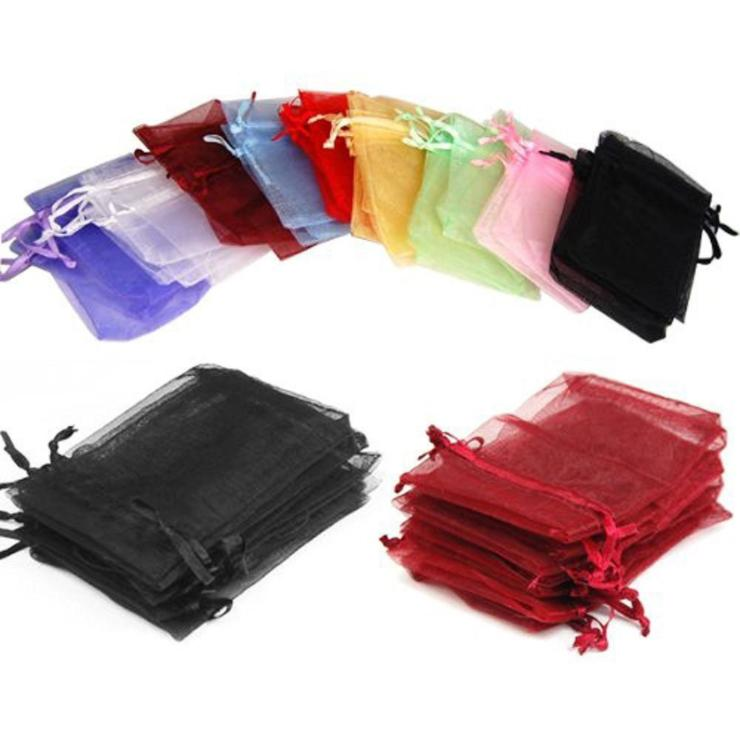100pcs/lot (9 Sizes) Organza Gift Bag Jewelry Packaging Bag Wedding Party Decoration Favors Drawable Gift Bag&Pouches Baby Shower