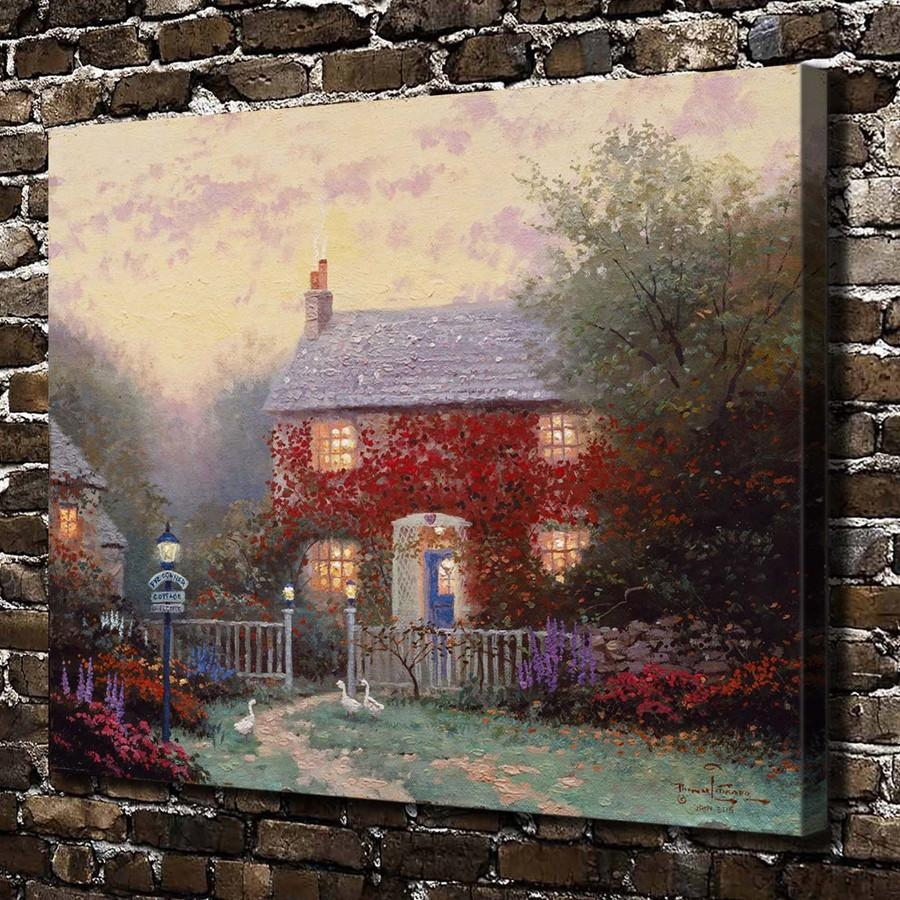 Thomas Kinkade,Pye Corner Cottage,1 Pieces Canvas Prints Wall Art Oil Painting Home Decor (Unframed/Framed) 24x32