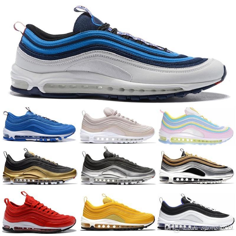 Nike 97 air sports running mulheres Sapatos soleBreathable confortável bom usar branco preto transparente vermelho branco preto Tamanho 36-45