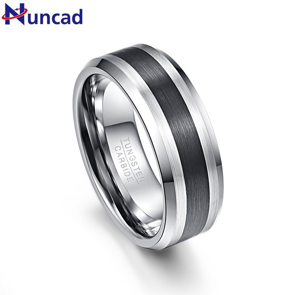 Nuncad мужская 8 мм черный матовый отделка скошенные вольфрамовые обручальные кольца Comfort Fit размер 7-12 J190715