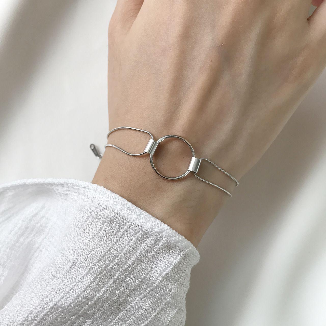 gato Chaofu coreana S925 plata cadena geométrico gruesa cadena círculo serpiente hueso pulsera