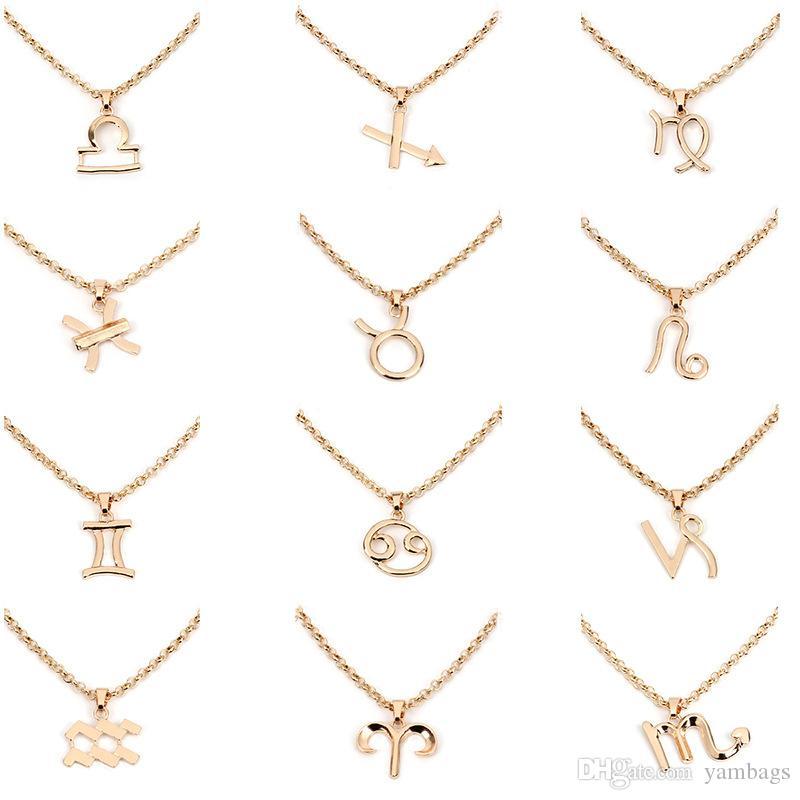 Collar Colgante del zodiaco Constelaciones de las mujeres Collares Llamativos Celestiales Recuerdo Virgo Tauro Leo Gemini Joyas Regalo Plata Cadena de oro