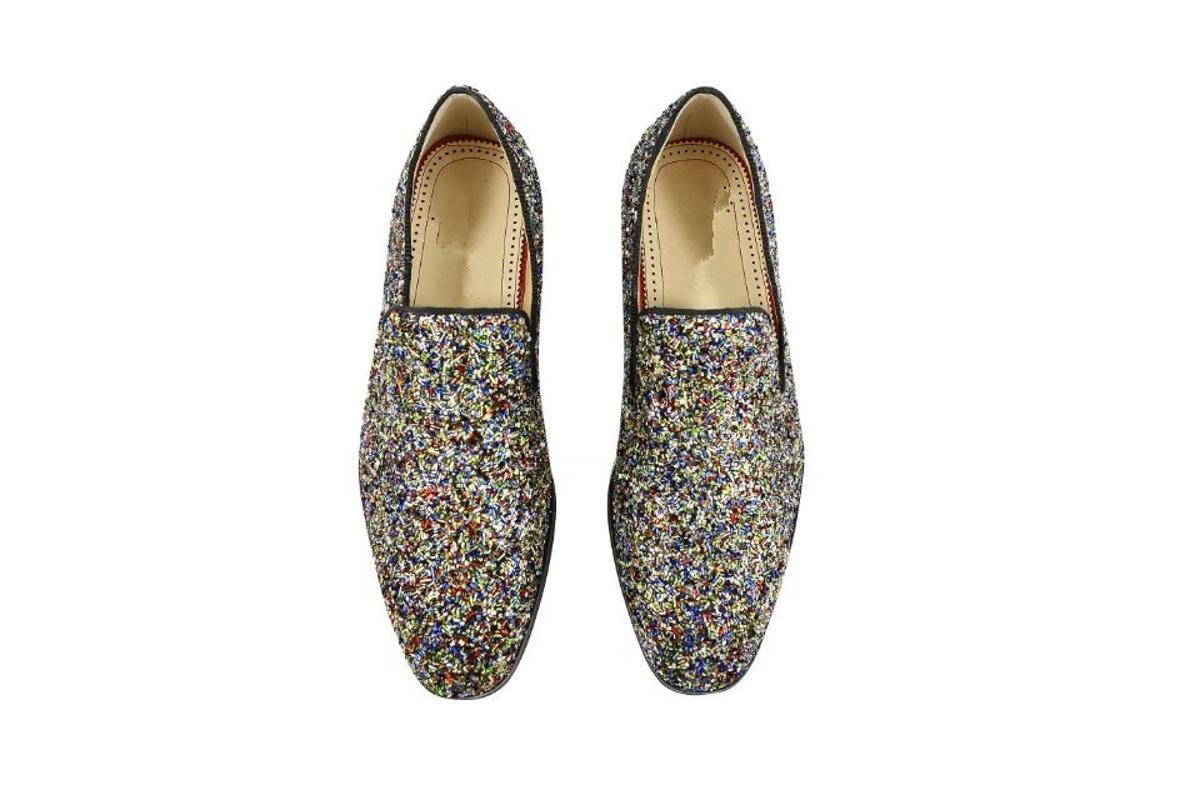 Mens neueste Art und Weise Glitzer-Kleid-Schuhe Handgemachte Slip-on Männer Loafers italienischen Stil Männer Brautschuhe