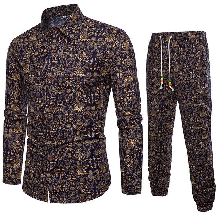 Homens Two Pieces Set de Moda de Nova camisa de manga blusa Casual Men Treino Outono marca de roupa Top + Calças Sets