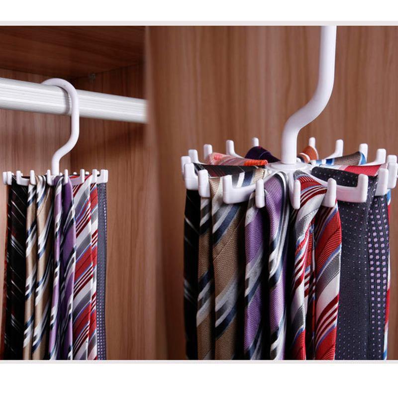 360 Graus Rotativo Rack de Gravata Cabide de Laço Detém 20 Gancho Clost Acessório de Vestuário Pendurado Gravata Organizador de Cinto 2019