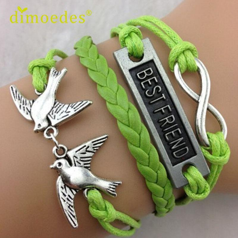 Wholesale- Bracelets Diomedes Gussy Life wholesale NEW Hot Fashion BEST FRIEND Leather Cute Charm Bracelet plated silver Jan26