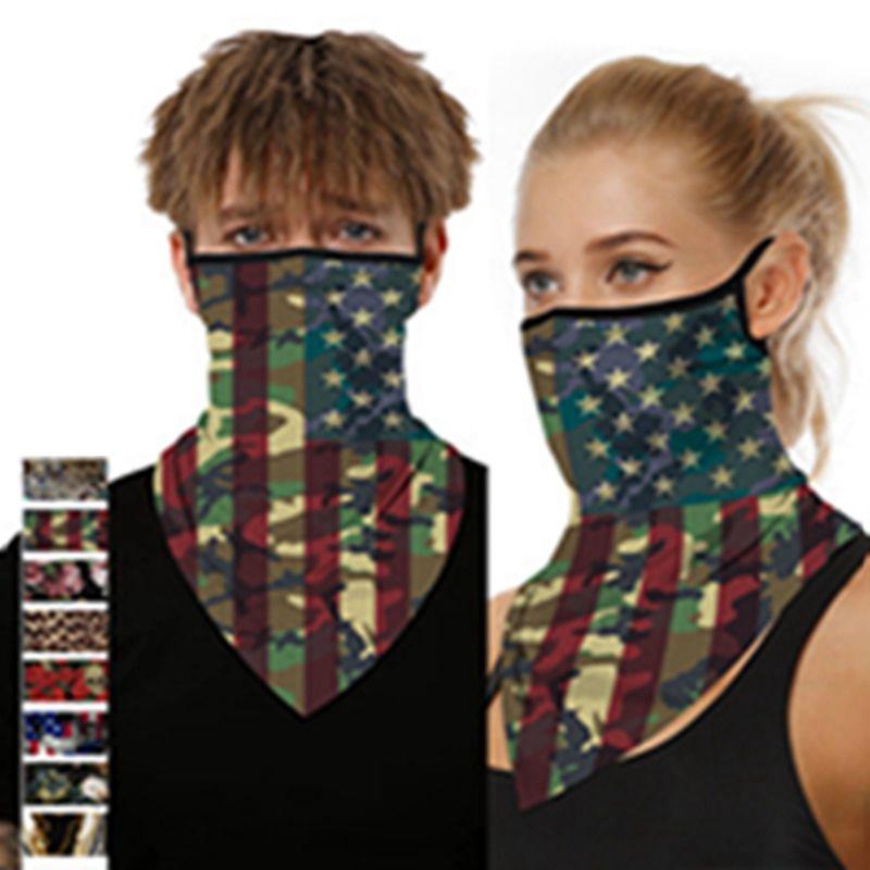 American Flag Impresso Pára-máscara protetora Homens e mulheres de suspensão Earmuffs Triângulo Cachecol Cachecol Máscara EEA1444