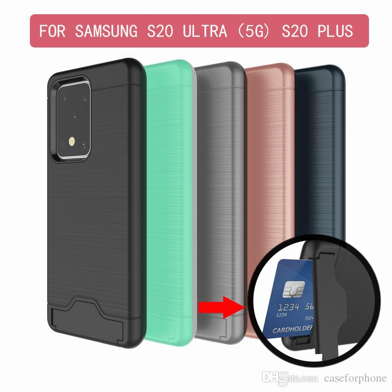 Brushed Armor Silicone Rubber Hard Phone Case For Samsung Galaxy S20 ULTRA S20 PLus Card Slot Holder Case Coque for IPHONE 11 PRO MAX LG