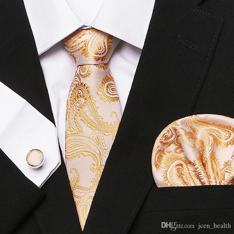 new Design yellow Tie Set normal width tie Jacquard Woven gravata Silk Tie Hanky Cufflinks Necktie Suits For Wedding Party Men normal