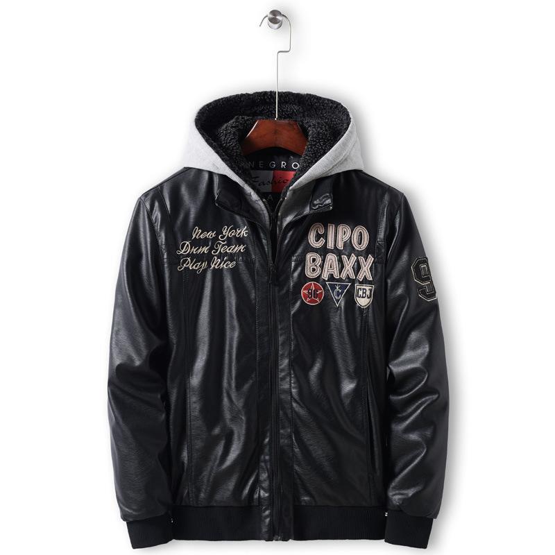 Новая 2019 случайной мужской с капюшоном кожаной куртки Зимнего Утолщенного Хлопком кожаной куртка американского размером высокого качество