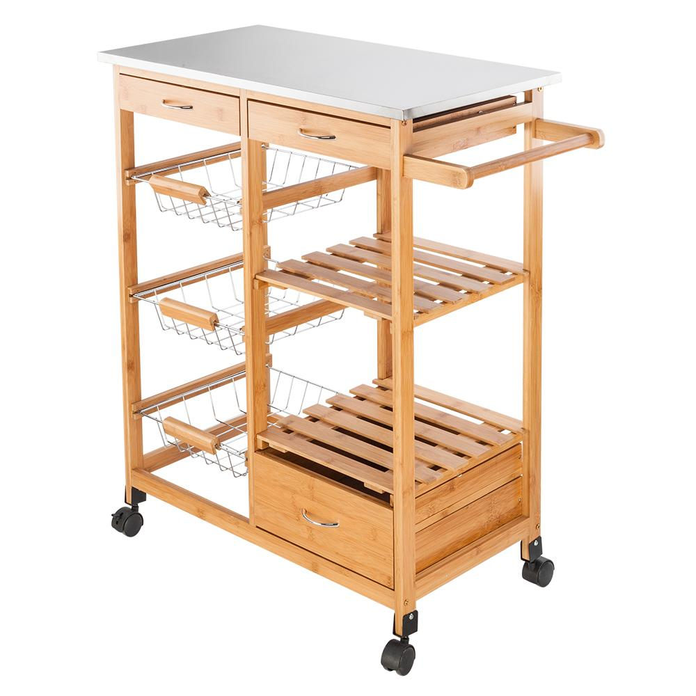 2020 Sonyi Rolling Kitchen Cart Storage Island Trolley Cart Moveable With Stainless Steel Table Top 3 Drawers Three Baskets Burly Wood From Ngfiqkl818 23 75 Dhgate Com